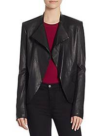 Theory Open Front Leather Jacket BLACK