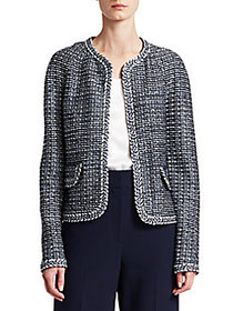 St. John Camille Braided-Trim Knit Jacket NAVY MUL