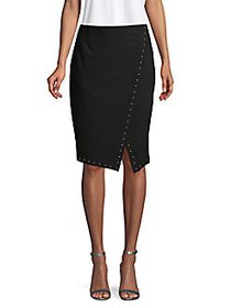 Calvin Klein Printed Wrap Skirt BLACK