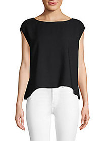 Theory High-Low Cap-Sleeve Top BLACK