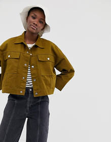 Weekday tenille denim jacket in khaki