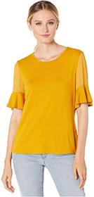 Vince Camuto Flutter Sleeve Mix Media Top w/ Chiff