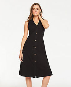 Petite Button Front Ribbed Knit Flare Dress