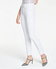 High Rise Performance Denim Skinny Jeans In White