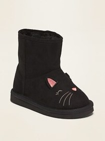 Faux-Suede Cat Critter Adoraboots for Toddler Girl