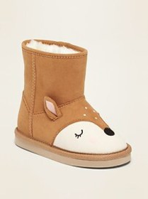 Faux-Suede Deer Critter Adoraboots for Toddler Gir