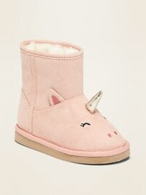 Faux-Suede Unicorn Critter Adoraboots for Toddler
