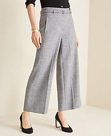 The Belted Wide Leg Marina Pant in Crosshatch