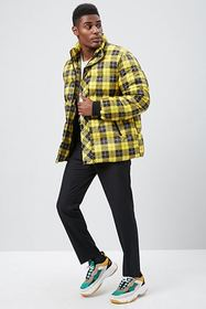 Forever21 Plaid Print Puffer Jacket