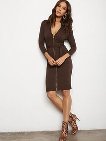 Zip-Front Belted Sweater Sheath Dress - 7th Avenue