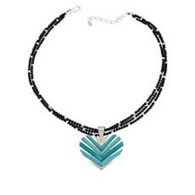 Jay King Turquoise Heart Pendant with Black Chalce