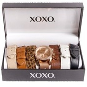 XOXO Womens Crystal Bezel Rose Gold Tone Watch 7-P