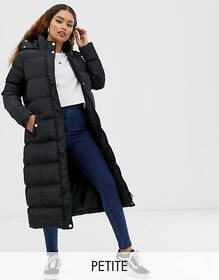 Brave Soul Petite longline puffer jacket with faux