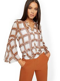 Plaid Bell-Sleeve Blouse - 7th Avenue - New York &