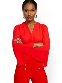 V-Neck Bell-Sleeve Blouse - 7th Avenue - New York