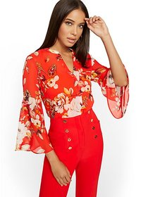 Floral Bell-Sleeve Blouse - 7th Avenue - New York