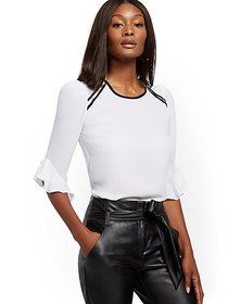 White Zip-Accent Ruffled Top - 7th Avenue - New Yo