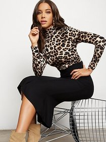 Leopard-Print Shirred Turtleneck Top - 7th Avenue