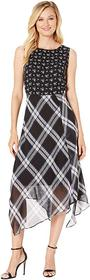 Vince Camuto Windowpane Uneven Hem Mix Print Dress