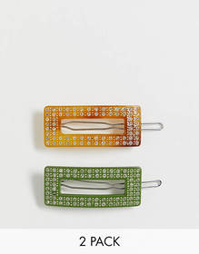 Glamorous Exclusive cut out resin hair clip 2 pack