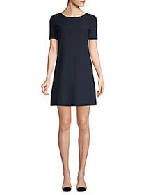 Theory V-Back Cotton Shift Dress SPRING NAVY