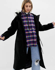COLLUSION longline parka with removable faux fur h