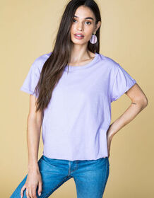 WEST OF MELROSE Roll Through Lilac Womens Crop Tee