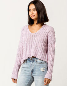 SKY AND SPARROW Open Weave Lavender Womens Sweater