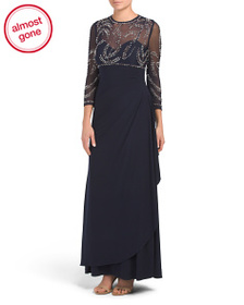BETSY & ADAM Petite Embellished Gown With Mock Wra