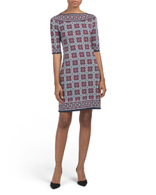 MAX STUDIO Elbow Sleeve Geo Floral Print Jersey Dr