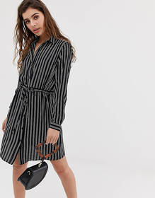 JDY stripe tie waist shirt dress