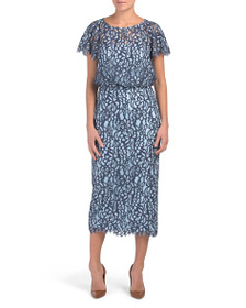 JS COLLECTIONS Embroidered Blouson Midi Dress