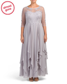 DECODE 1.8 Plus Illusion Neck Gown With Embroidery