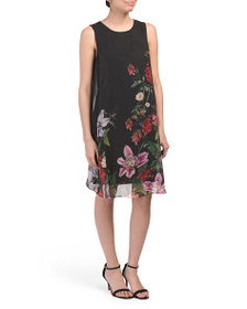 ADRIANNA PAPELL Floral Overlay Cocktail Dress