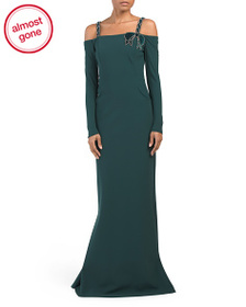 TERI JON Cold Shoulder Long Sleeve Scuba Gown