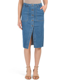 ALMOST FAMOUS Juniors Denim Midi Skirt With Button