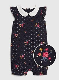 Baby Collar Print Shorty One-Piece