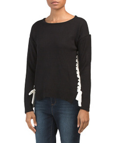 ALISON ANDREWS Color Block Lace Up Pullover Sweate