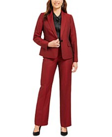 Single-Button Straight-Leg Pants Suit