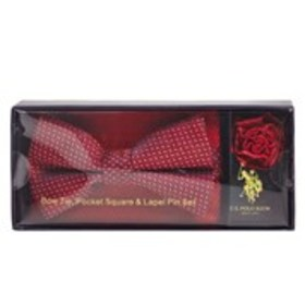 Mens Navy/Red Bow Tie, Pocket Square And Lapel Pin