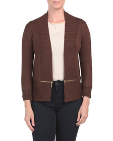 PHILOSOPHY Open Front Cardigan With Exposed Zipper