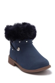 Nicole Miller Faux Fur Studded Strap Bootie (Toddl