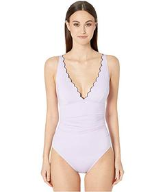 Kate Spade New York Contrast Scalloped Plunge One-