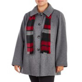 LONDON FOG Plus Size Wool Blend Peacoat with Scarf