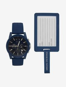 Armani CHRONOGRAPH BLUE SILICONE STRAP WATCH WITH