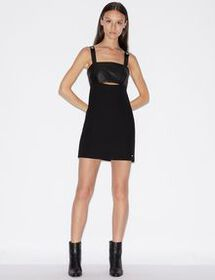 Armani DRESS IN VISCOSE AND FAUX LEATHER