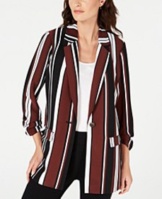 Striped Ruched-Sleeve Topper Jacket, Created for M