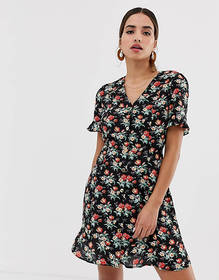 Oasis button down tea dress in floral print