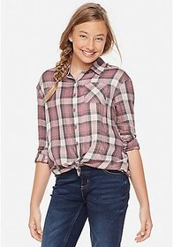 Justice Perfect Plaid Button Up Shirt