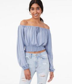 Aeropostale Long Sleeve Striped Off-The-Shoulder C